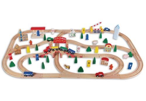 Chemin de fer en bois BEEBOO TRAIN 100 pièces