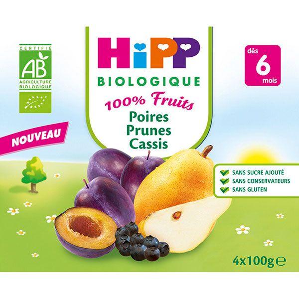 Poires Prunes Cassis 100% fruits - 4 coupelles x 100g - 6 mois