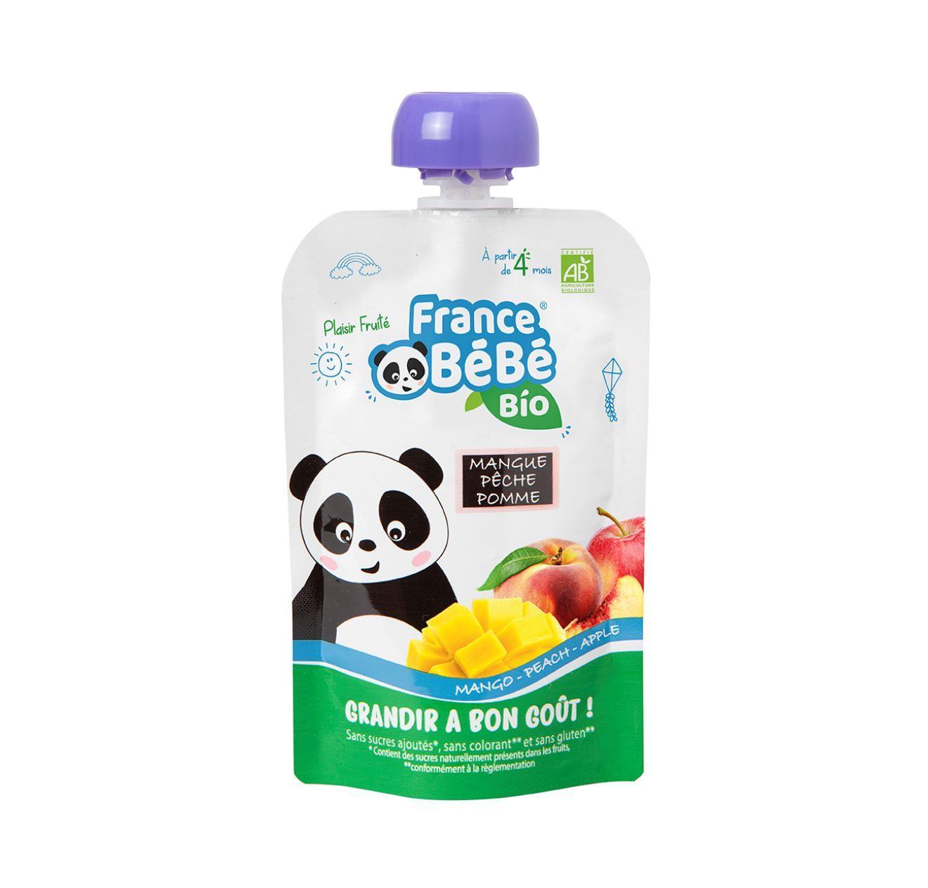 Gourde de purée de fruits Mangue Pêche Pomme - 100g - A partir de 4 mois