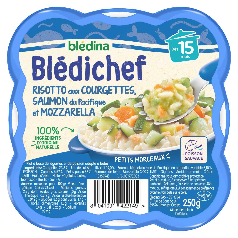 BLEDICHEF Risotto aux courgettes, saumon du Pacifique et mozzarella
