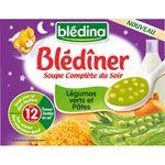 BLEDINER Soupe du soir légumes et pâtes 2 x 250 ml dès 12 mois BLEDINA