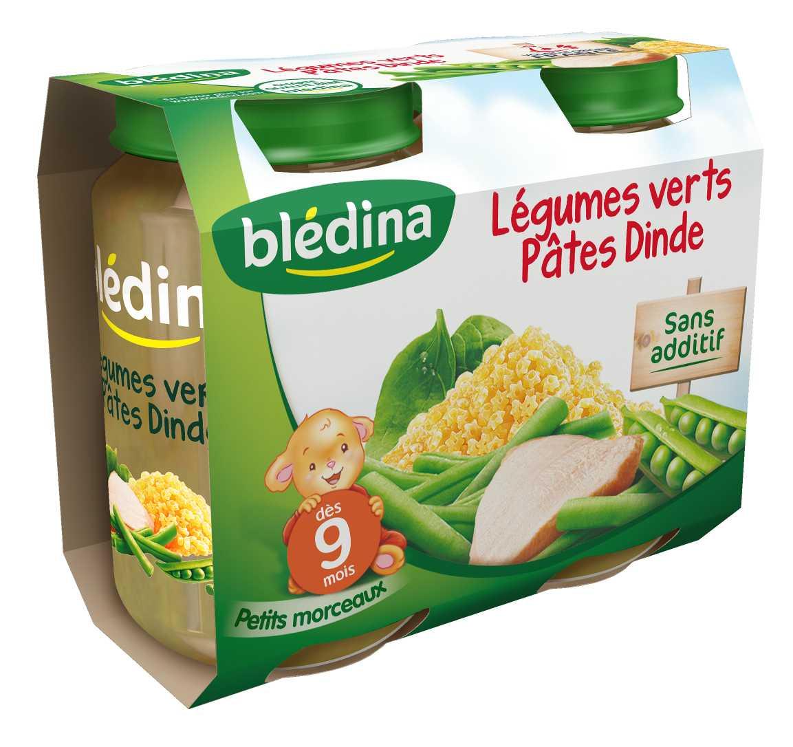 Pot Légumes verts Pâtes Dinde 2x200g BLEDINA