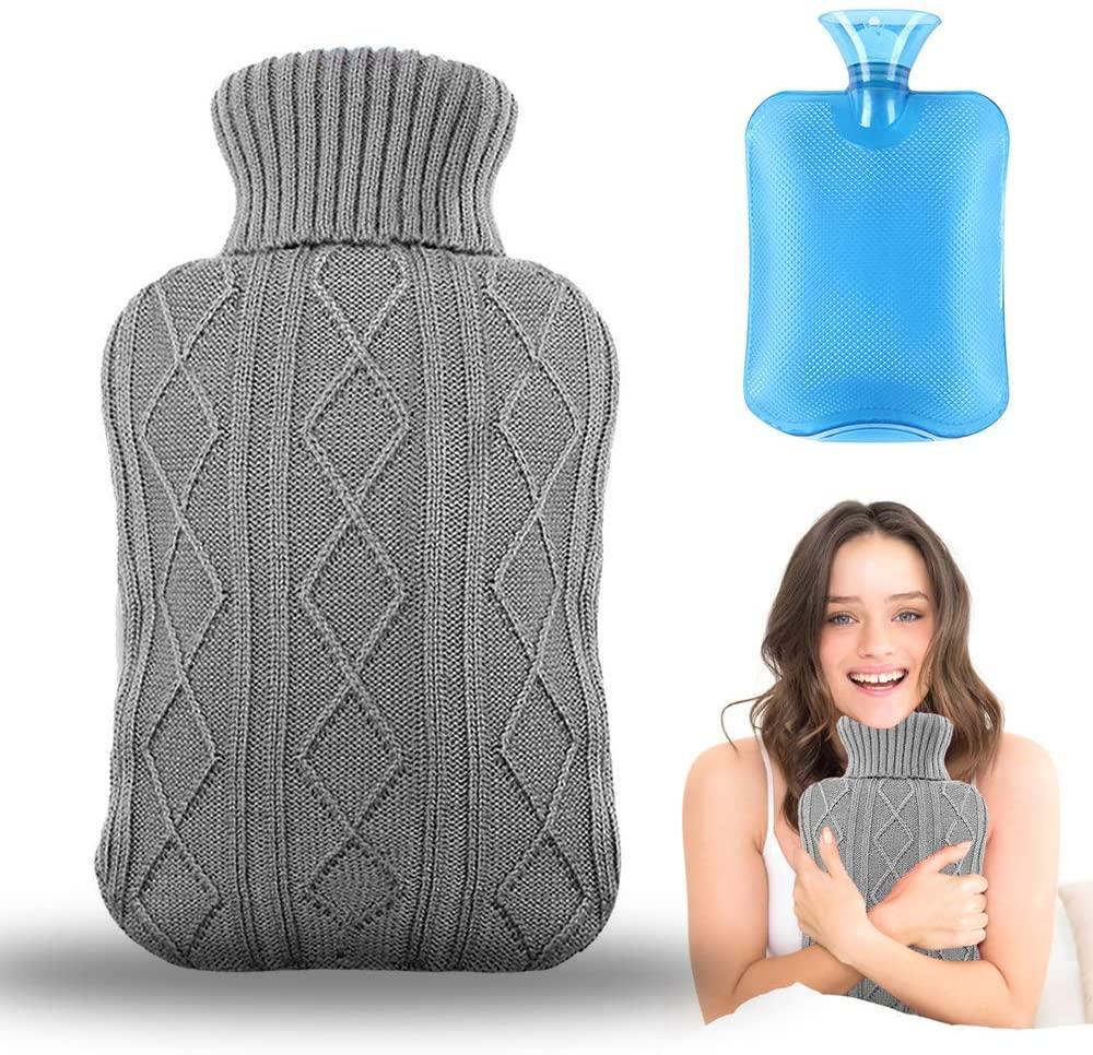 Bouteille d'eau chaude avec housses tricotées