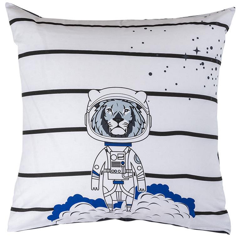 Taie d'oreiller pur coton imprimé constellations et lion cosmonaute cosmic