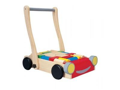 Chariot de marche en bois avec cubes PLAN TOYS