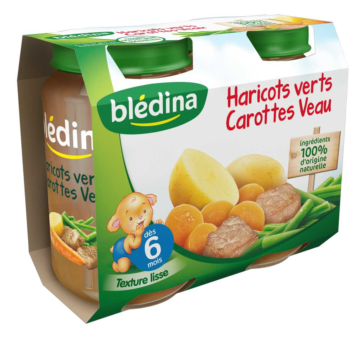 Pot Haricots verts Carottes Veau 2x200g