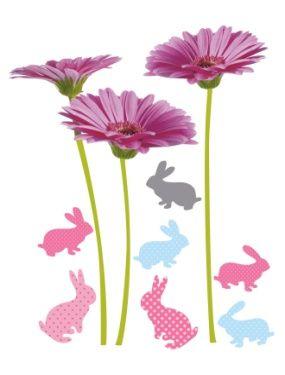10 stickers fleurs et lapins chambre fille