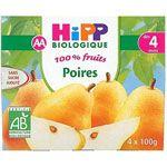 Poires 100% fruits - 4 coupelles x 100g - 4 mois HIPP