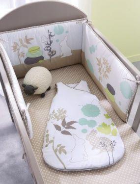 Tour de lit bebe brode Pétales