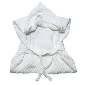 Serviette de bain en mousseline avec capuche et ceinture -