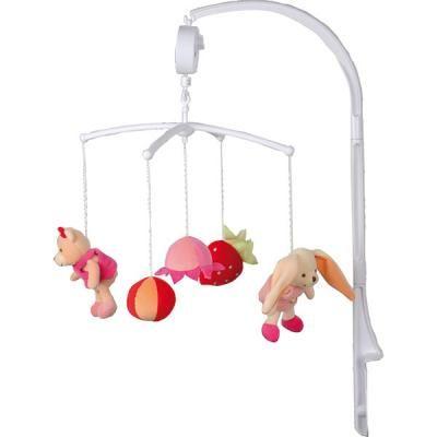 Mobile bébé musical fruits roses