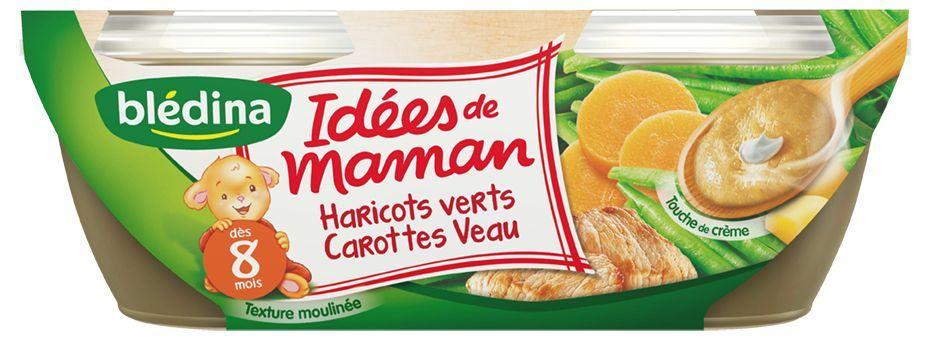 LES IDEES DE MAMAN, Haricots verts carottes veau et touche de crème