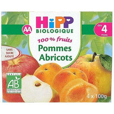 Pommes Abricots 100% fruits - 4 coupelles x 100g - 4 mois