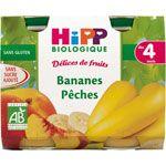 Délices de fruits Bananes pêches 190 g dès 4 mois HIPP