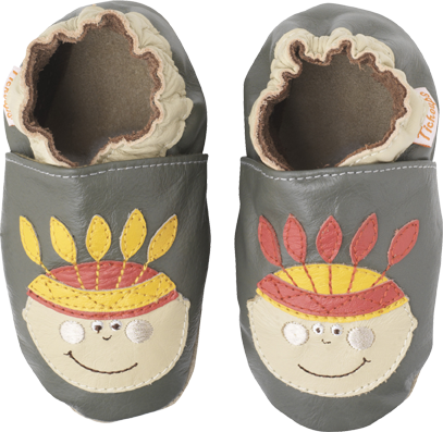 Chaussons cuir souple Indiens TICHOUPS