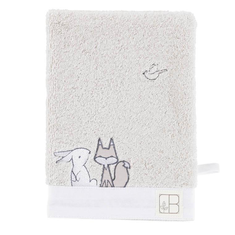 Gant de toilette bouclette de coton biologique brodé animaux Imagine