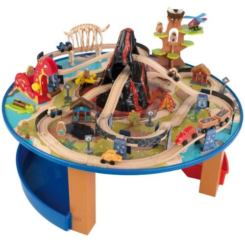 Ensemble table et circuit de train Dinosaure