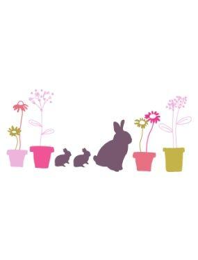 7 stickers Lapins & fleurs chambre fille