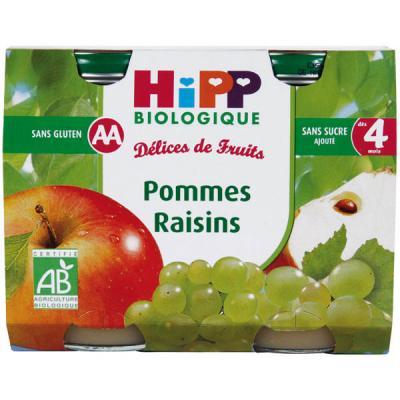 Pommes Raisins - 2 pots x 190g - 4 mois HIPP