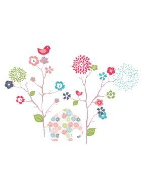 40 stickers fleurs et elephant chambre fille