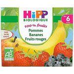 Pommes Bananes Fruits rouges 100% fruits - 4 coupelles x 100g - 6 mois