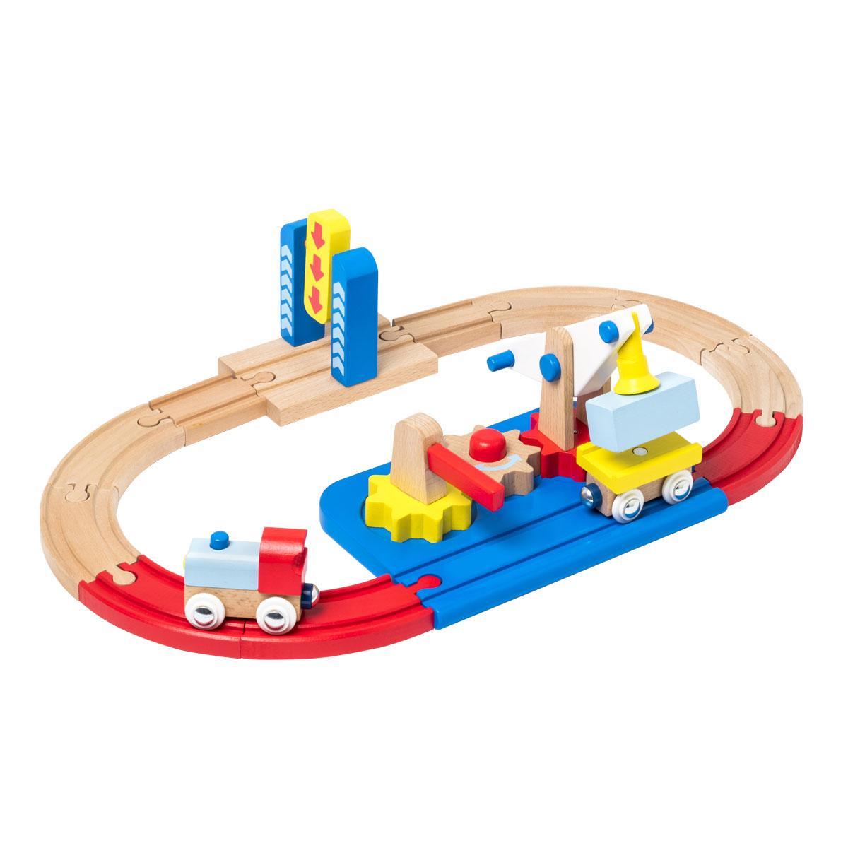 Circuit de train en bois des tout-petits