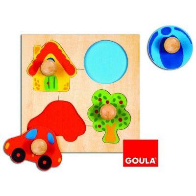 Encastrement puzzle 4 pièces en bois couleur GOULA