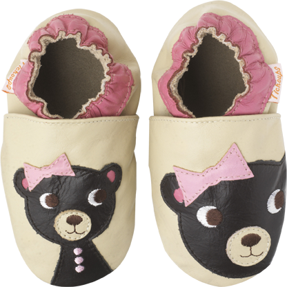 Chaussons cuir souple Ourson TICHOUPS