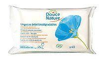 Lingettes bébé biodégradables (x40) DOUCE NATURE