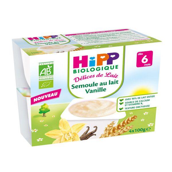 Semoule au lait Vanille - 4 coupelles x 100g - 6 mois HIPP