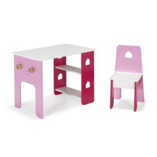 Bureau et chaise roses pour enfant avec étagères et patères