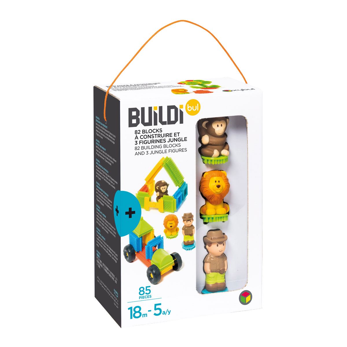 82 blocks à construire et 3 figurines jungle - Buildibul