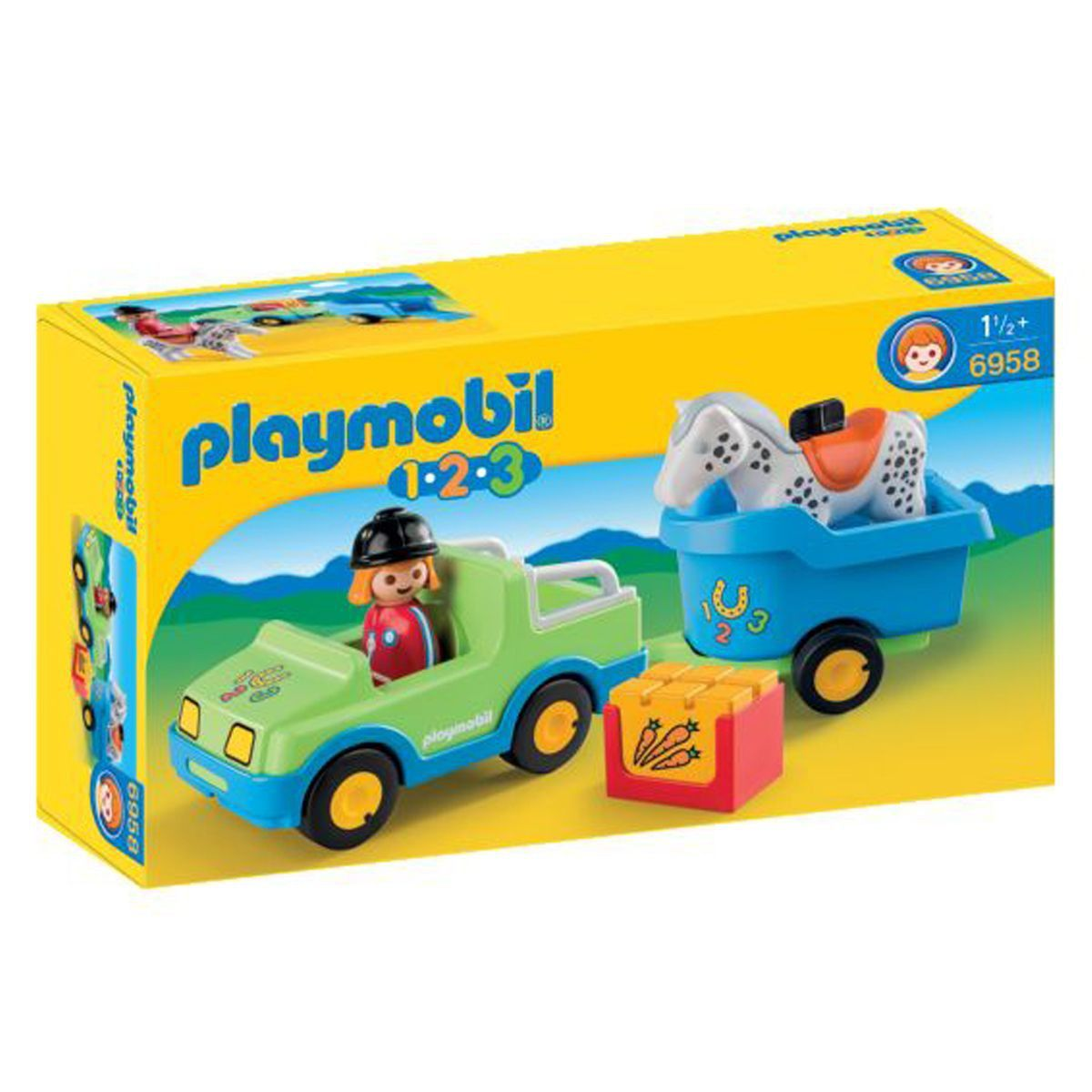 Playmobil 1.2.3. - Véhicule avec remorque à cheval