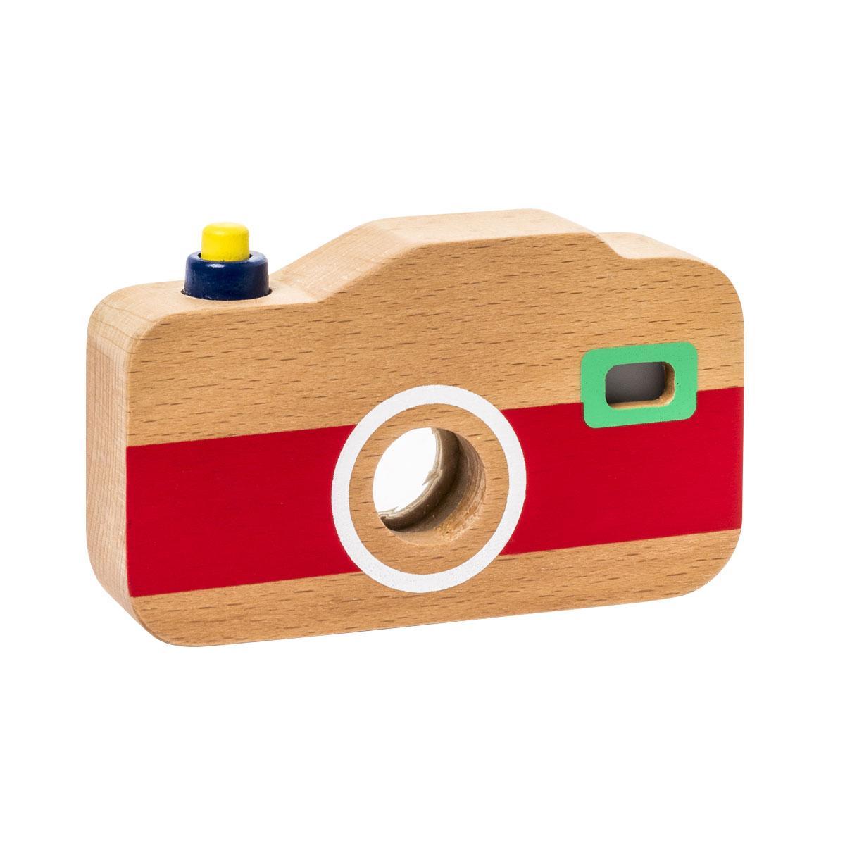 Appareil photo sonore et lumineux en bois