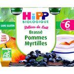 Délices de lait Brassé Pommes myrtilles 160 g dès 6 mois