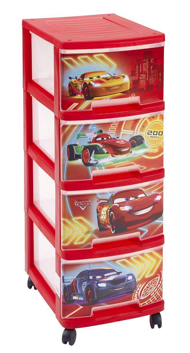 Tour de rangement 4 tiroirs sur roulettes Cars