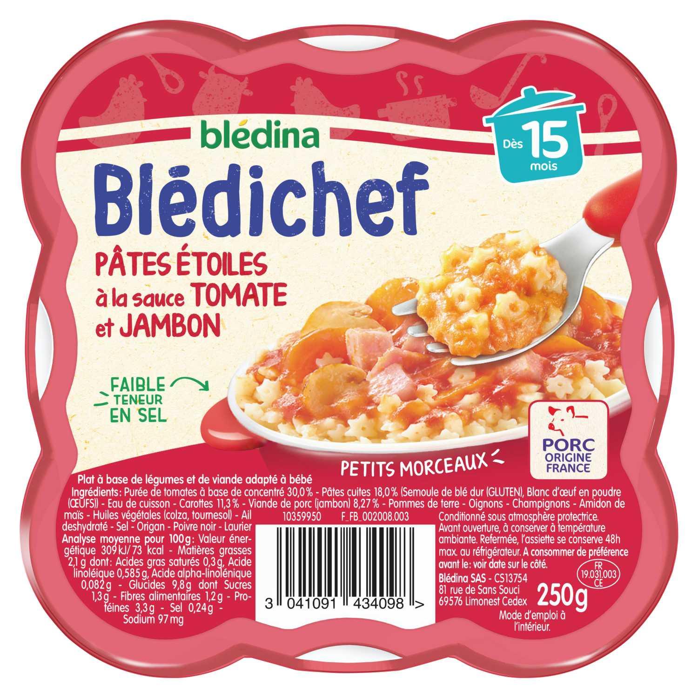 BLEDICHEF Pâtes étoiles à la sauce tomate et jambon