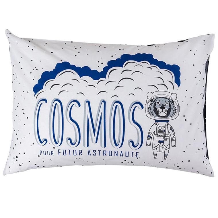 Taie d'oreiller rectangulaire pur coton imprimé constellations et lion cosmonaute cosmic