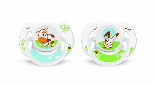 2 sucettes orthodontiques decorees animal silicone 6-18 mois