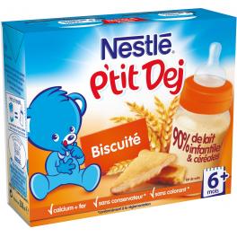 Nestlé P'tit Dej - Brique lait & céréales biscuité