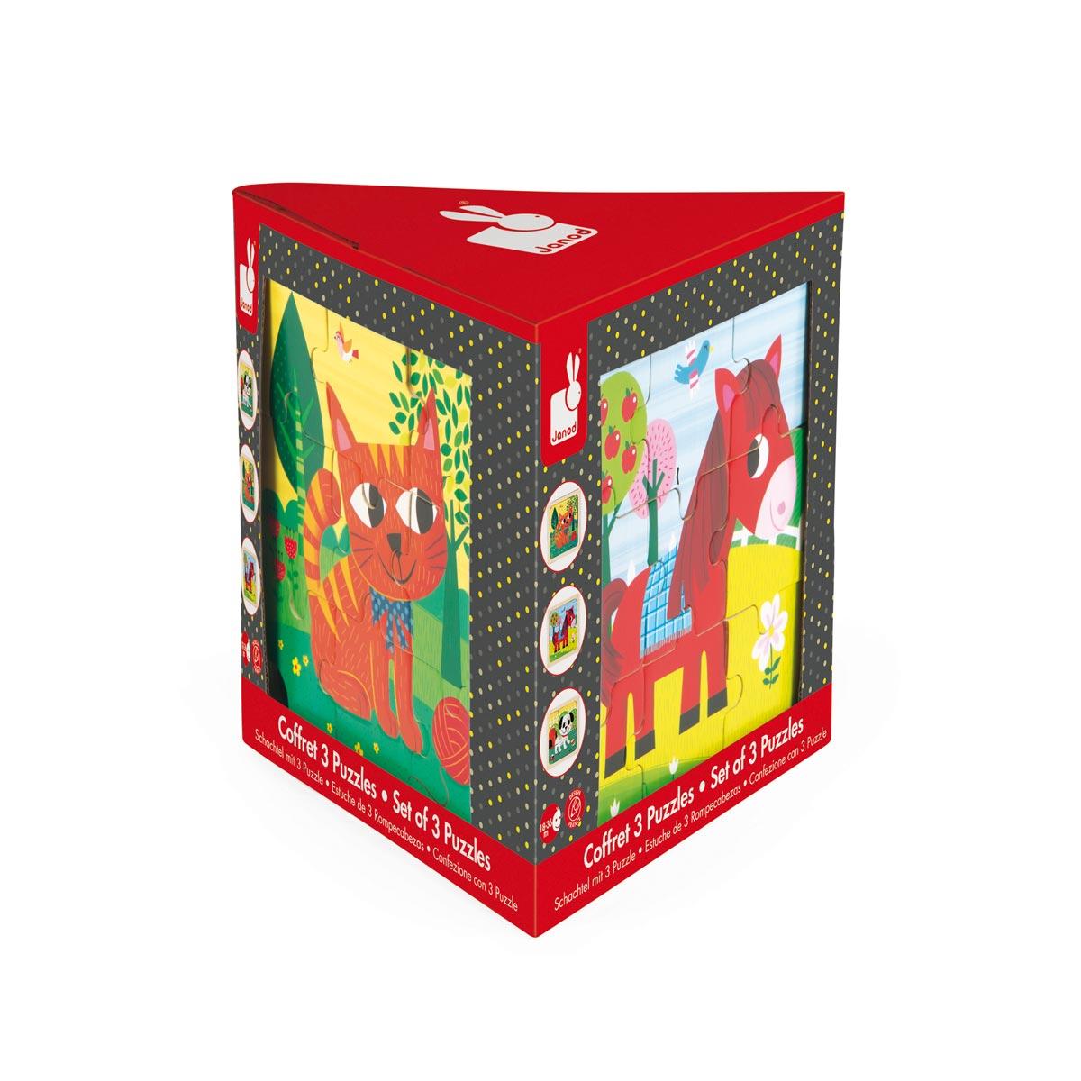 Coffret 3 puzzles 9 pièces