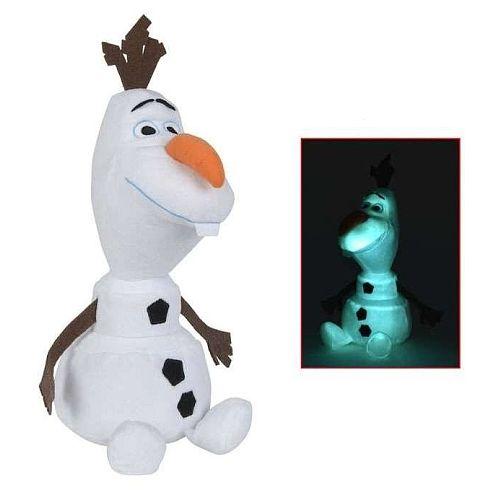 Peluche La Reine des Neiges - Olaf Brille dans la nuit