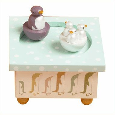 Boîte à musique magnétique famille Pingouins