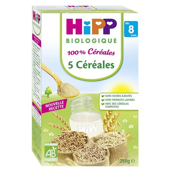 100% Céréales - 5 céréales - 1 boîte x 250g - 8 mois