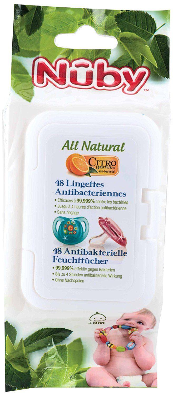Lingettes antibactériennes pour sucettes, anneaux et objets