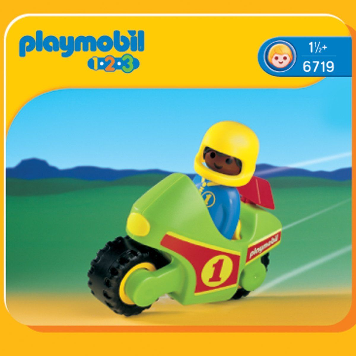 Playmobil 1.2.3 - Pilote / moto de course