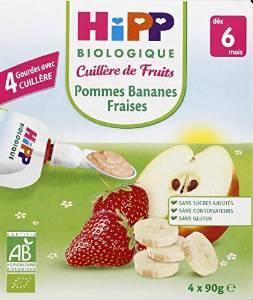 Gourde Pommes Bananes Fraises - 4 x 90g - 6 mois