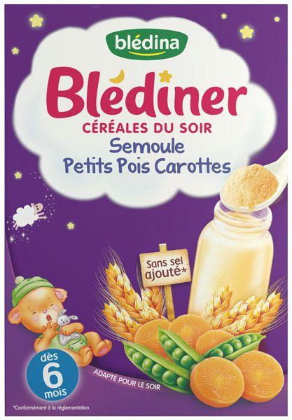 Blédiner Céréales du soir - Semoule, petits pois et carottes BLEDINA