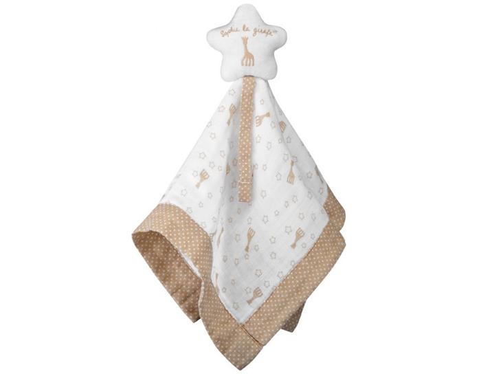 Doudou avec attache-sucette coton bio Sophie la girafe