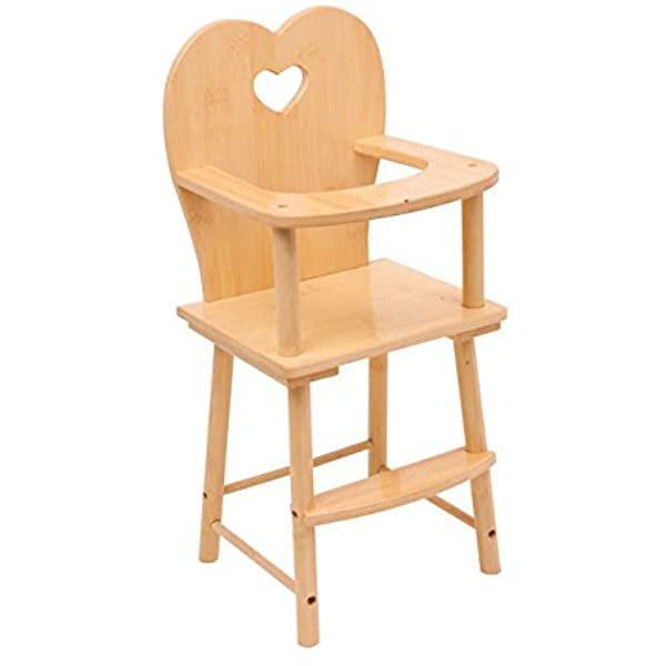 Chaise haute pour poupée en bois